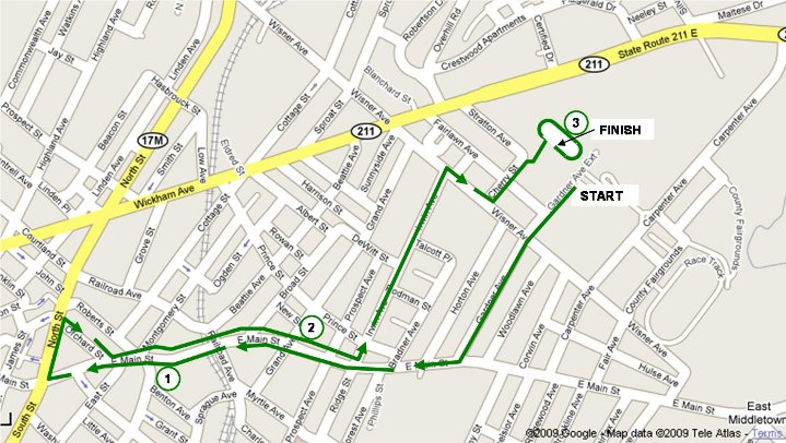 Map of the Rowley 5K Course